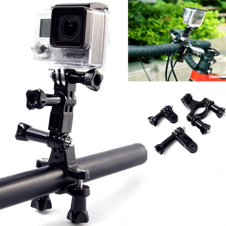 Veiksmo kameros laikikliai ant dviračio su alkunėmis
