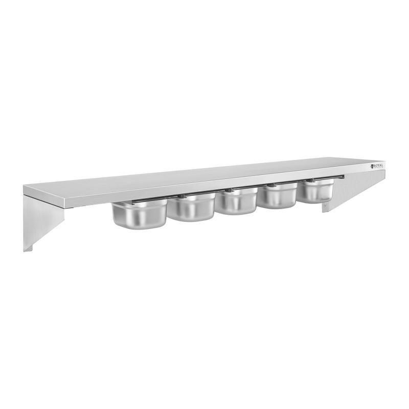 Pakabinama lentyna - 120 cm - nerūdijantis plienas - su stalčiais