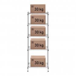 Metalinė sandėliavimo lentyna - 350 x 550 x 1500 mm - pilka