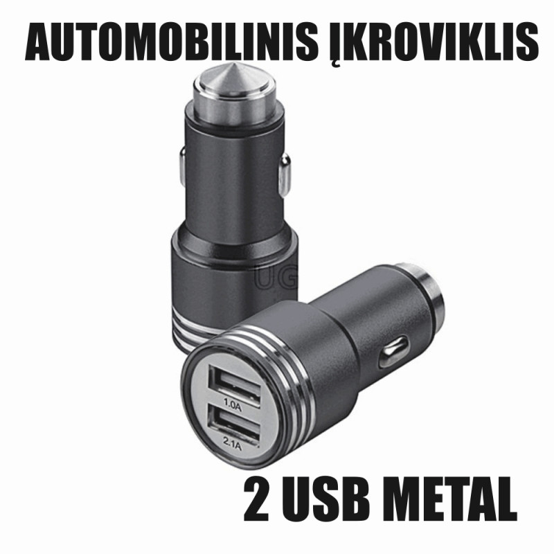 Automobilinis įkroviklis (pakrovėjas) USB 2 x 2.1A