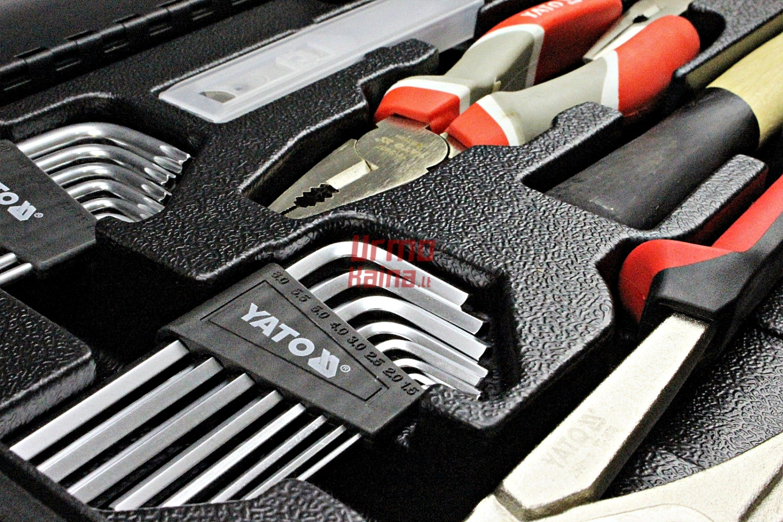 Įrankių rinkinys YATO su metaline dėže ir stalčiais 80 dalių