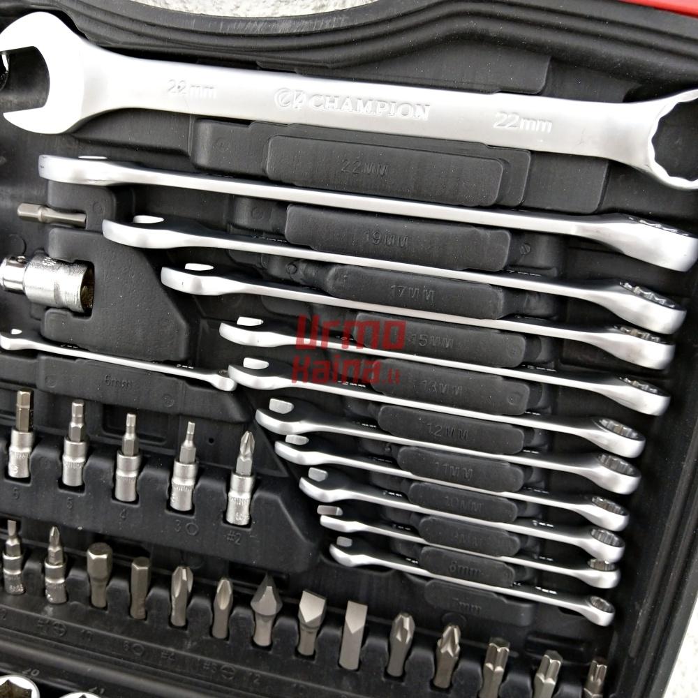 Įrankių galvučių rinkinys Champion SP 94 dalių
