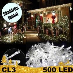 500 LED lempučių girlianda STANDART CL3 skaidriais laidais