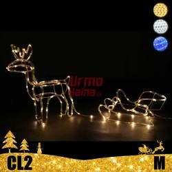 LED dekoracija 3D šviečiantis elnias su rogėmis M CL2