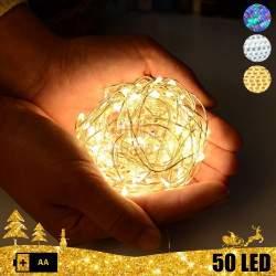 Vielinė LED girlianda su baterijomis 50 lempučių