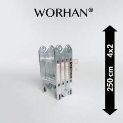 Sulankstomos daugiafunkcinės aliumininės kopėčios WORHAN 250 cm | WH2.5