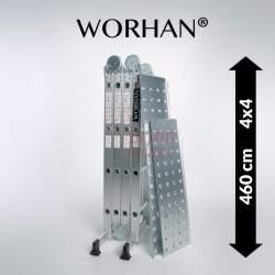 Sulankstomos daugiafunkcinės aliumininės kopėčios WORHAN 460 cm su platforma   WH4.6