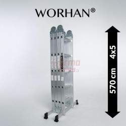 Sulankstomos daugiafunkcinės aliumininės kopėčios WORHAN 570 cm | WH5.7