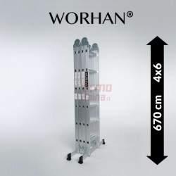 Sulankstomos daugiafunkcinės aliumininės kopėčios WORHAN 670 cm   WH6.7