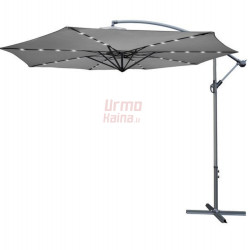 Lauko skėtis su LED, 350 cm, pilkas