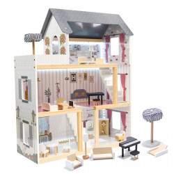 Medinis lėlių namelis su priedais ir LED LULILO