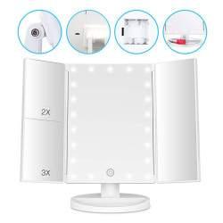 3 dalių veidrodis su LED apšvietimu