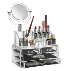 Akrilinė kosmetikos ir papuošalų dėžutė su stalčiais ir veidrodžiu