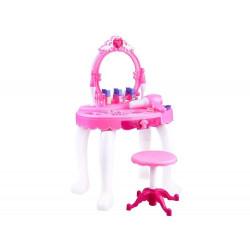 Žaislinis rožinis kosmetinis staliukas su priedais mergaitėms