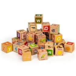 Medinių kaladėlių rinkinys raidės, skaičiai, paveiksliukai