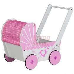 Medinis vežimėlis lėlėms Pink Classic