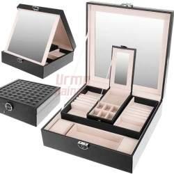 Papuošalų dėžutė su veidrodžiu PD11 Juoda