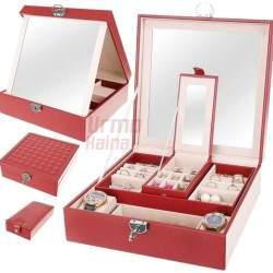 Papuošalų dėžutė su veidrodžiu PD11 Raudona