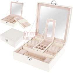 Papuošalų dėžutė su veidrodžiu PD11 Balta