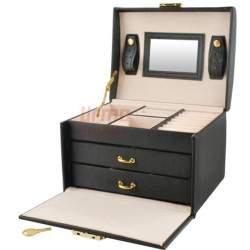 Papuošalų dėžutė su veidrodžiu PD10 Juoda