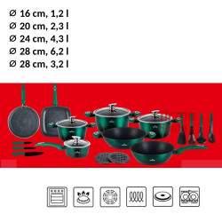 Akmens masės 21 dalies puodų rinkinys ZL-8542