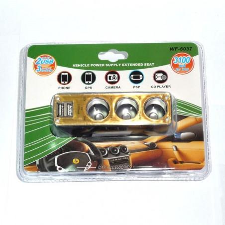 Automobilinis šakotuvas trivietis + 2 USB 3100 mAh
