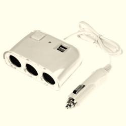 Automobilinis šakotuvas trivietis + 2 USB 2.1A 120 W