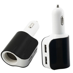 Automobilinis įkroviklis (pakrovėjas) USB 2 x 2.1A su šakotuvu 12/24V